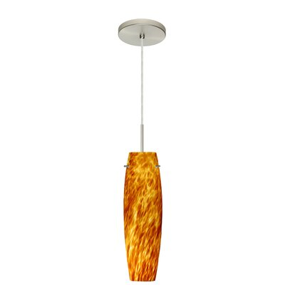 Tutu 1-Light Mini Pendant Bulb Type: Xenon or Incandescent, Finish: Satin Nickel, Glass Shade: Amber Cloud
