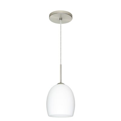 Lucia 1-Light Pendant Finish: Satin Nickel, Glass Shade: Opal Matte, Bulb Type: LED