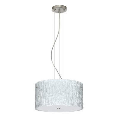 Tamburo 3 Light LED Drum Pendant Finish: Satin Nickel, Shade Color: Opal Stone