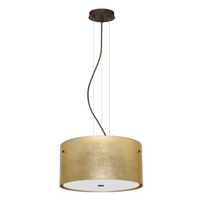 Tamburo 3 Light LED Drum Pendant Shade Color: Gold Foil, Finish: Bronze