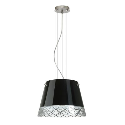 Amelia 3-Light Drum Pendant Shade Color: Black, Finish: Satin Nickel