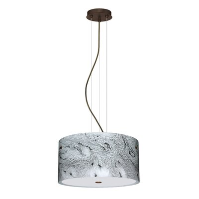 Tamburo 3 Light LED Drum Pendant Finish: Bronze, Shade Color: Marble Grigio