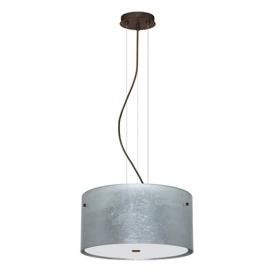 Tamburo 3 Light LED Drum Pendant Shade Color: Silver Foil, Finish: Bronze