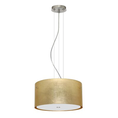 Tamburo 3 Light LED Drum Pendant Shade Color: Gold Foil, Finish: Satin Nickel