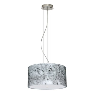 Tamburo 3 Light LED Drum Pendant Finish: Satin Nickel, Shade Color: Marble Grigio