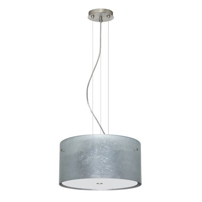Tamburo 3 Light LED Drum Pendant Finish: Satin Nickel, Shade Color: Silver Foil