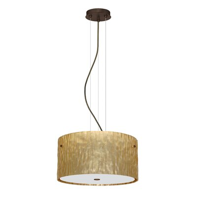 Tamburo 3 Light LED Drum Pendant Finish: Bronze, Shade Color: Stone Gold Foil