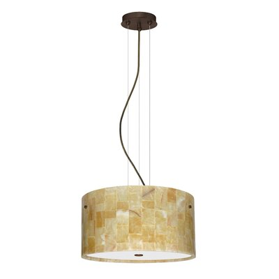 Tamburo 3 Light LED Drum Pendant Finish: Bronze, Shade Color: Mosaic Onyx