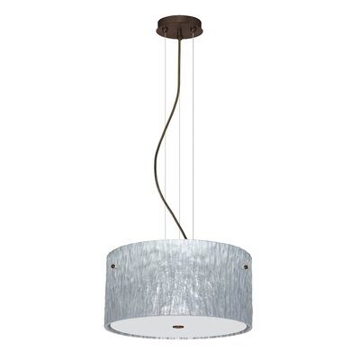 Tamburo 3 Light LED Drum Pendant Finish: Bronze, Shade Color: Stone Silver Foil