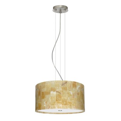 Tamburo 3 Light LED Drum Pendant Finish: Satin Nickel, Shade Color: Mosaic Onyx