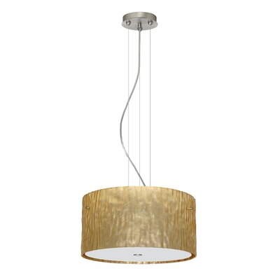Tamburo 3 Light LED Drum Pendant Finish: Satin Nickel, Shade Color: Stone Gold Foil