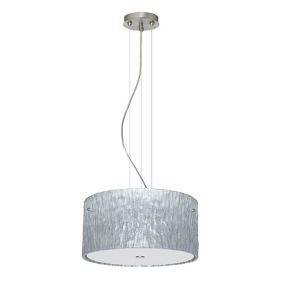 Tamburo 3 Light LED Drum Pendant Shade Color: Stone Silver Foil, Finish: Satin Nickel
