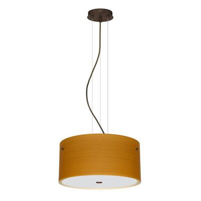 Tamburo 3 Light LED Drum Pendant Finish: Bronze, Shade Color: Oak
