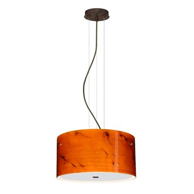 Tamburo 3 Light LED Drum Pendant Finish: Bronze, Shade Color: Habanero