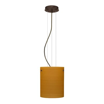 Tamburo Pendant Size / Glass Shade: 9.875 H x 7.875 W x 7.875 D / Oak, Finish: Bronze