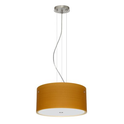 Tamburo 3 Light LED Drum Pendant Finish: Satin Nickel, Shade Color: Oak