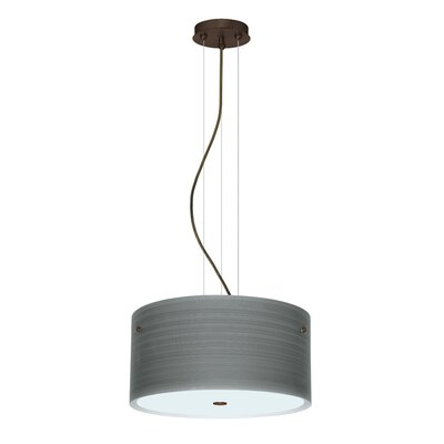 Tamburo 3 Light LED Drum Pendant Finish: Bronze, Shade Color: Titan