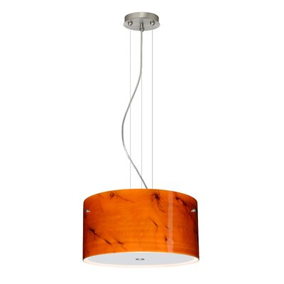 Tamburo 3 Light LED Drum Pendant Finish: Satin Nickel, Shade Color: Habanero