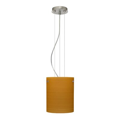 Tamburo Pendant Size / Glass Shade: 9.875 H x 7.875 W x 7.875 D / Oak, Finish: Satin Nickel