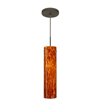 Stilo 1-Light Mini Pendant Finish: Bronze, Glass Shade: Amber Cloud