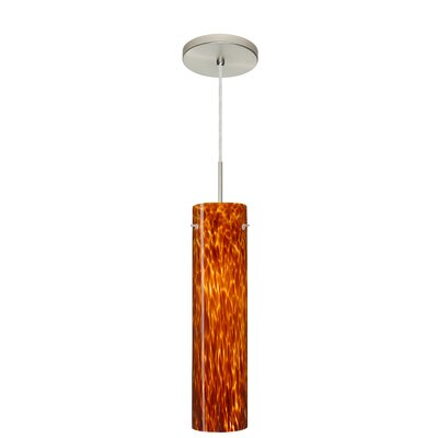 Stilo 1-Light Mini Pendant Finish: Satin Nickel, Glass Shade: Amber Cloud, Bulb Type: LED