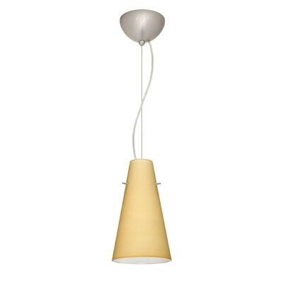 Cierro 1-Light Mini Pendant Bulb Type: LED, Finish: Satin Nickel, Shade Color: Vanilla Matte
