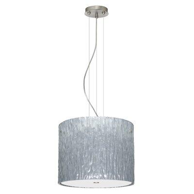 Tamburo 3 Light Drum Pendant Finish: Satin Nickel, Glass Shade: Stone Silver Foil, Bulb Type: LED