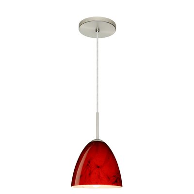 Vila 1-Light Pendant Finish: Satin Nickel, Glass Shade: Magma, Bulb Type: LED