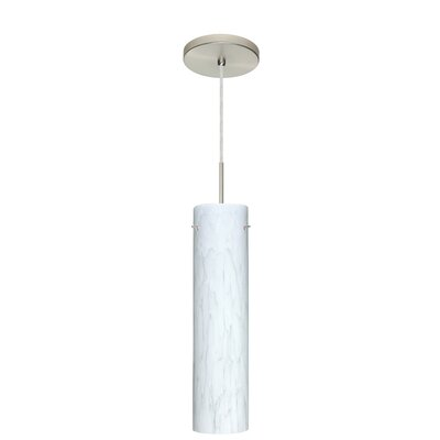 Stilo 1-Light Mini Pendant Finish: Satin Nickel, Glass Shade: Carrera