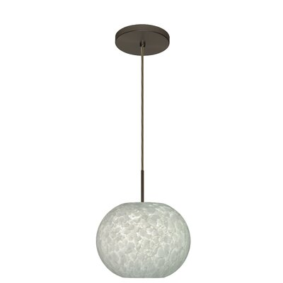Luna 1-Light Globe Pendant Finish: Bronze, Glass Shade: Carrera