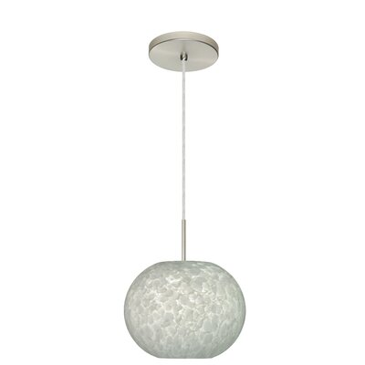Luna 1-Light Globe Pendant Finish: Satin Nickel, Glass Shade: Carrera