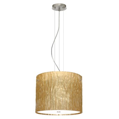 Tamburo 3 Light Drum Pendant Finish: Satin Nickel, Glass Shade: Stone Gold Foil, Bulb Type: LED