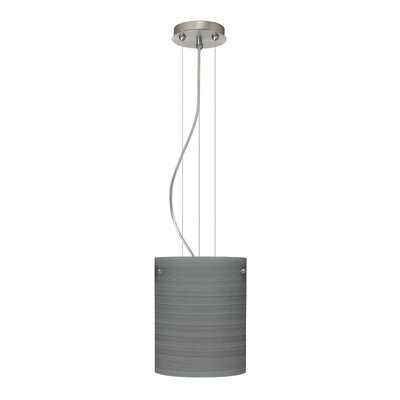 Tamburo Pendant Size / Glass Shade: 9.875 H x 7.875 W x 7.875 D / Titan, Finish: Satin Nickel