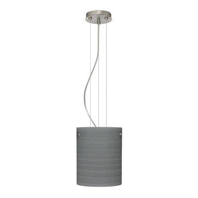 Tamburo Pendant Size / Glass Shade: 9.875 H x 7.875 W x 7.875 D / Titan, Finish: Satin Nickel