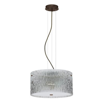 Tamburo 3 Light LED Drum Pendant Finish: Bronze, Shade Color: Clear Stone