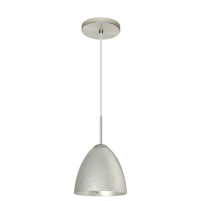 Vila 1-Light Pendant Finish: Satin Nickel, Glass Shade: Garnet, Bulb Type: Incandescent