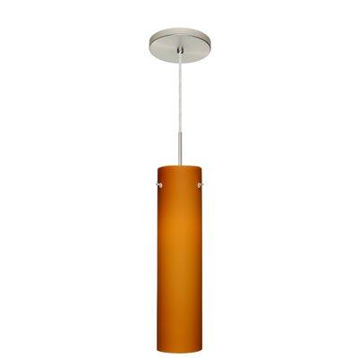 Stilo 1 Light Mini Pendant Finish: Satin Nickel, Glass Shade: Amber Matte, Bulb Type: LED