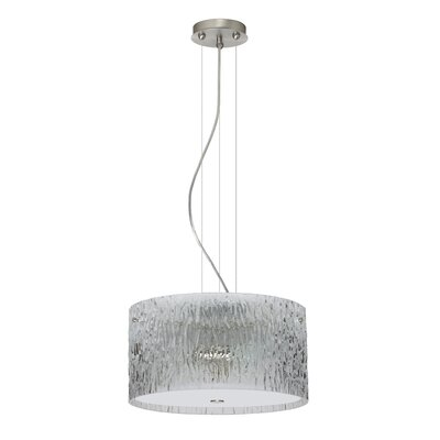 Tamburo 3 Light LED Drum Pendant Finish: Satin Nickel, Shade Color: Clear Stone