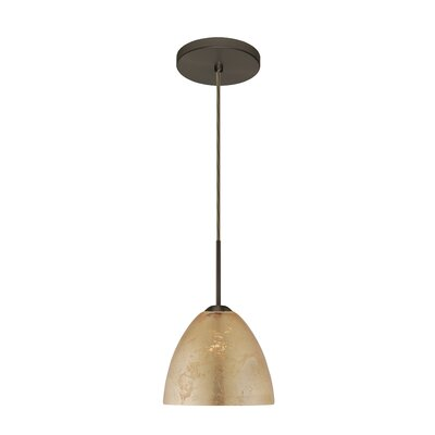 Sasha II 1-Light Mini Pendant Bulb Type: Incandescent, Finish: Bronze, Glass Shade: Gold Foil