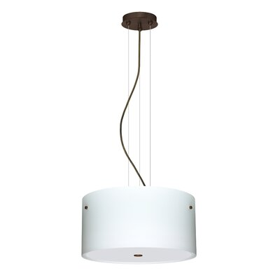 Tamburo 3 Light LED Drum Pendant Finish: Bronze, Shade Color: Opal Matte