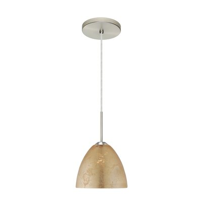Sasha II 1-Light Mini Pendant Bulb Type: Incandescent, Finish: Satin Nickel, Glass Shade: Gold Foil