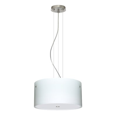 Tamburo 3 Light LED Drum Pendant Finish: Satin Nickel, Shade Color: Opal Matte