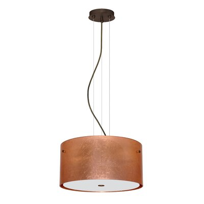 Tamburo 3 Light LED Drum Pendant Finish: Bronze, Shade Color: Copper Foil