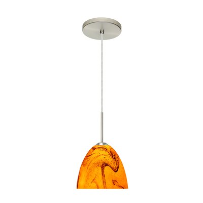 Sasha II 1-Light Mini Pendant Finish: Satin Nickel, Glass Shade: Habanero, Bulb Type: LED