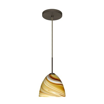 Sasha II 1-Light Mini Pendant Finish: Bronze, Glass Shade: Honey, Bulb Type: Incandescent