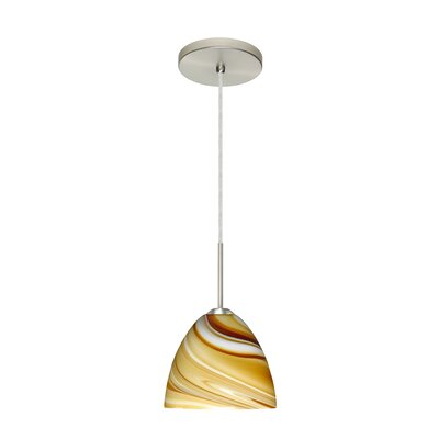 Sasha II 1-Light Mini Pendant Bulb Type: Incandescent, Finish: Satin Nickel, Glass Shade: Honey