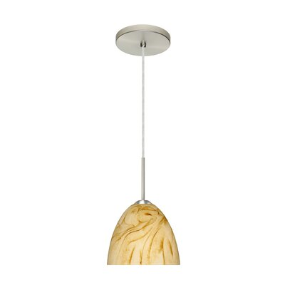 Sasha II 1-Light Mini Pendant Finish: Satin Nickel, Glass Shade: Halva, Bulb Type: LED