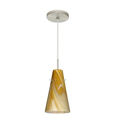 Cierro 1 Light Pendant Finish: Satin Nickel, Glass Shade: Honey