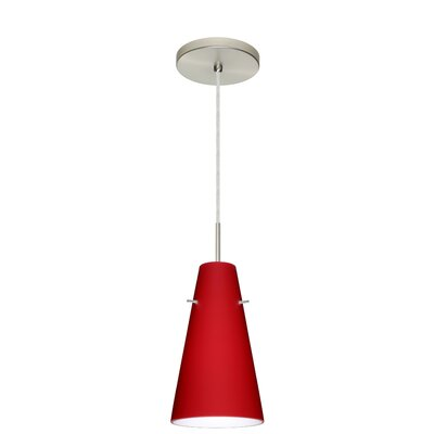 Cierro 1-Light Mini Pendant Finish: Satin Nickel, Glass Shade: Ruby Matte, Bulb Type: LED