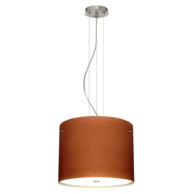 Tamburo 3 Light LED Drum Pendant Finish: Satin Nickel, Shade Color: Cherry